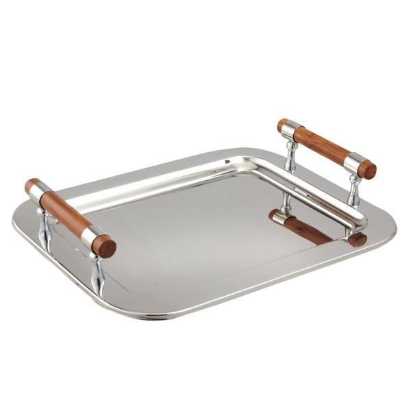 16.5 in. x 13 in. Stainless Steel Rectangular Tray with Handles