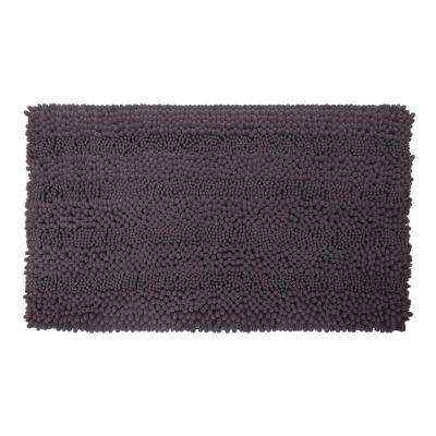 Astor Striped Chenille Dark Grey 17 in. x 24 in. Plush Bath Mat