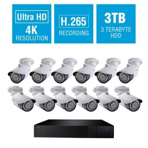 Q-See 32-Channel 4K 3TB H.265 NVR Security Surveillance System with (12) 8MP IP Bullet Cameras