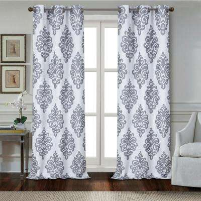 Marquise 84 in. Charcoal Polyester Textured Applique Grommet Window Curtain Panel (2-Pack)