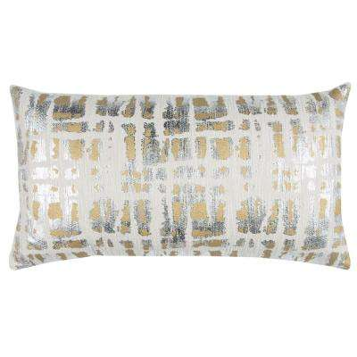 Abstract 14 in. x 26 in. Natural Decorative Filled Pillow
