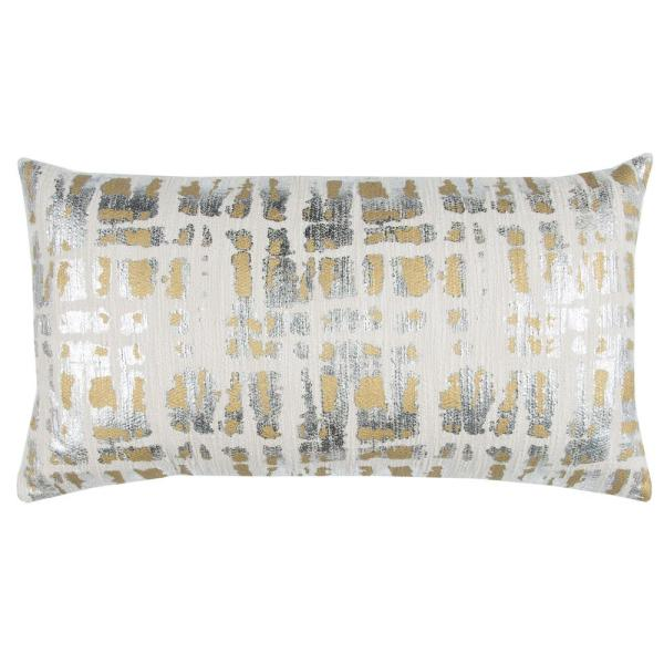 Ivory and Gold Cotton 14 in. X 26 in. Decorative Filled Throw Pillow