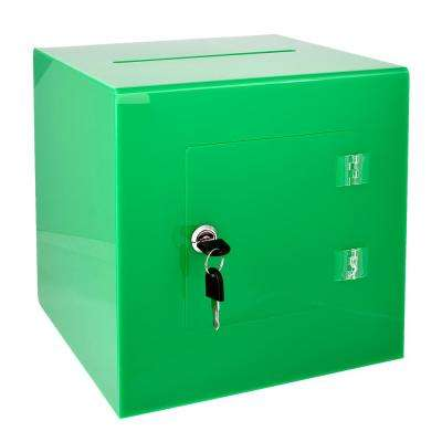 10 in. x 10 in. x 10 in. Acrylic Suggestion Donation Box with Easy Open Rear Door, Green