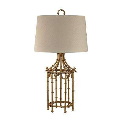 33 in. Gold Leaf Bamboo Birdcage Table Lamp