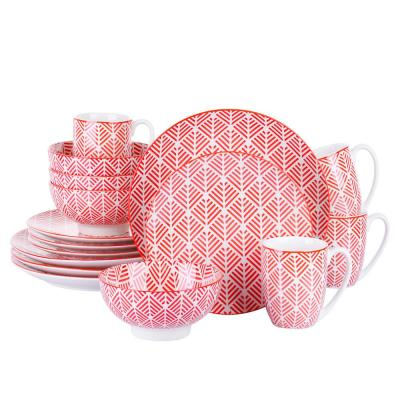 16-Piece Pink Patterned Porcelain Mugs Cups Dinnerware Set Plates and Bowls Set (Service for 4)