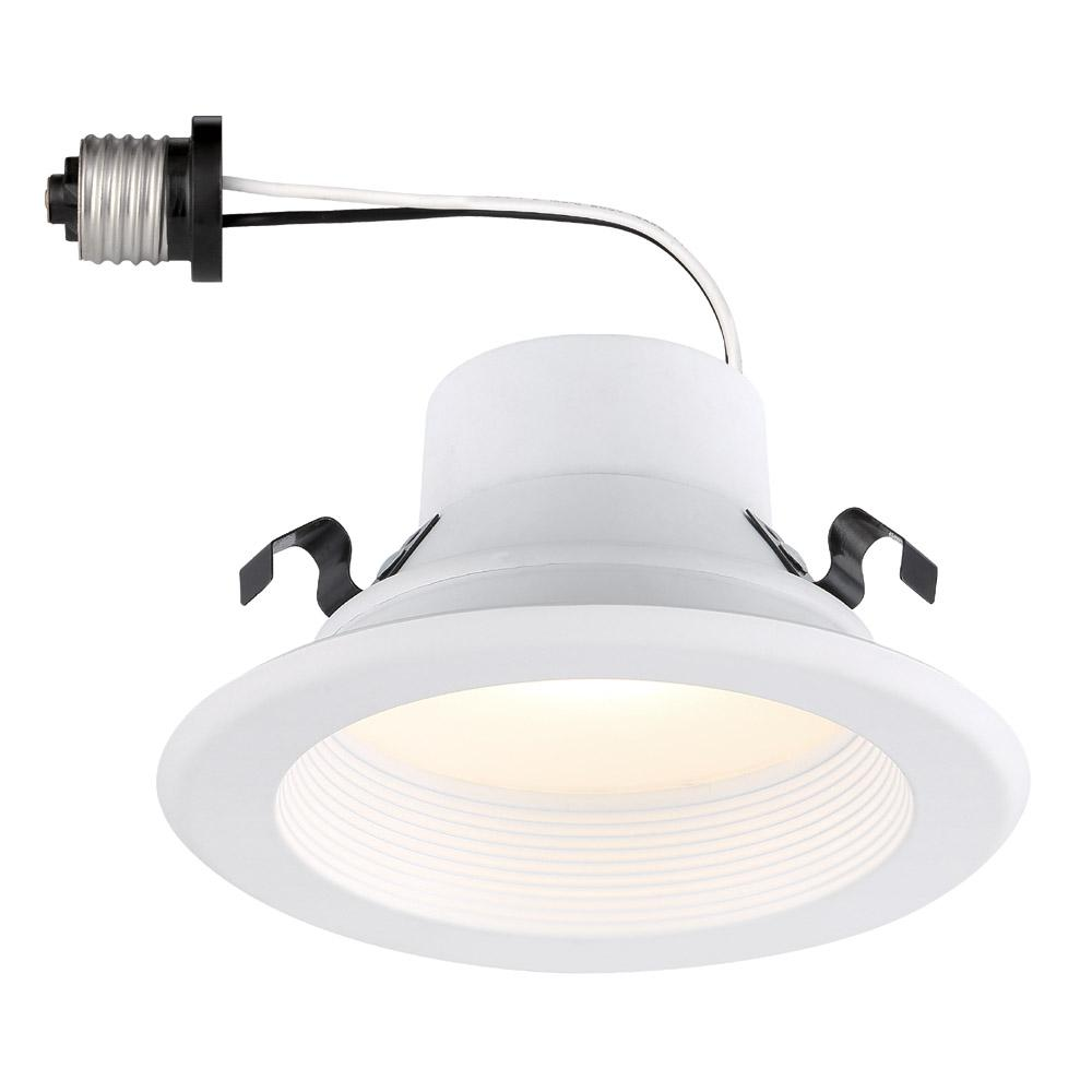 Envirolite 4 In Remodel White Integrated Led Recessed Ceiling Downlight Baffle Trim Dimmable 5000k