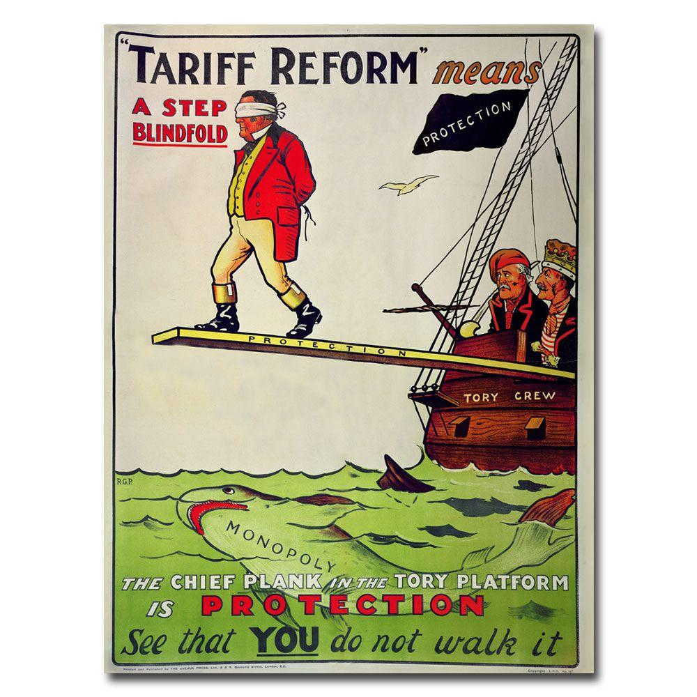 Trademark Fine Art 24 in. x 32 in. Tariff Reform Means a Step Blindfold 1910 Canvas Art