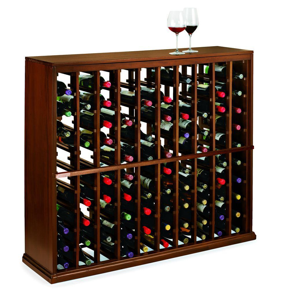 N'Finity 100-Bottle Dark Walnut Floor Wine Rack
