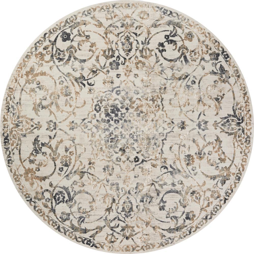 Empire Ivory/Grey Elegance 9 ft. x 9 ft. Vintage Floral Round Rug