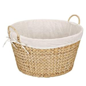 Household Essentials Round Banana Leaf Natural Laundry Basket by Household Essentials