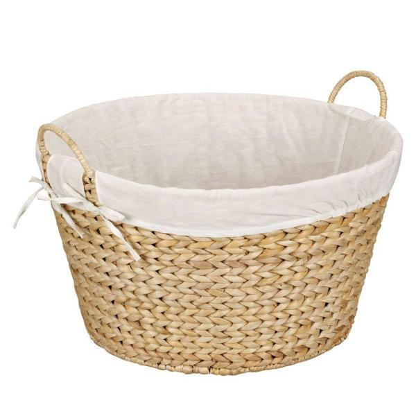 Household Essentials Round Banana Leaf Natural Laundry Basket
