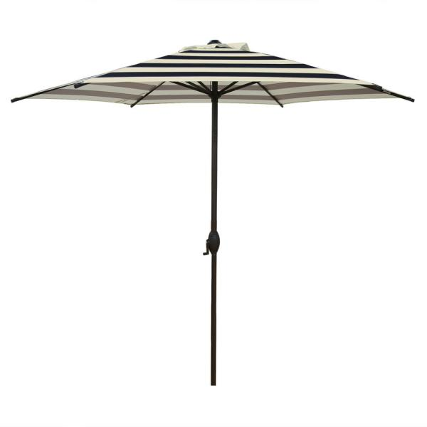 9 ft. Market Outdoor Patio Umbrella with Push Button Tilt and Crank in Black and Cream Stripe