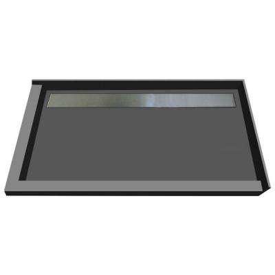 48 in. x 72 in. Double Threshold Shower Base in Gray with Back Drain and Tileable Trench Grate