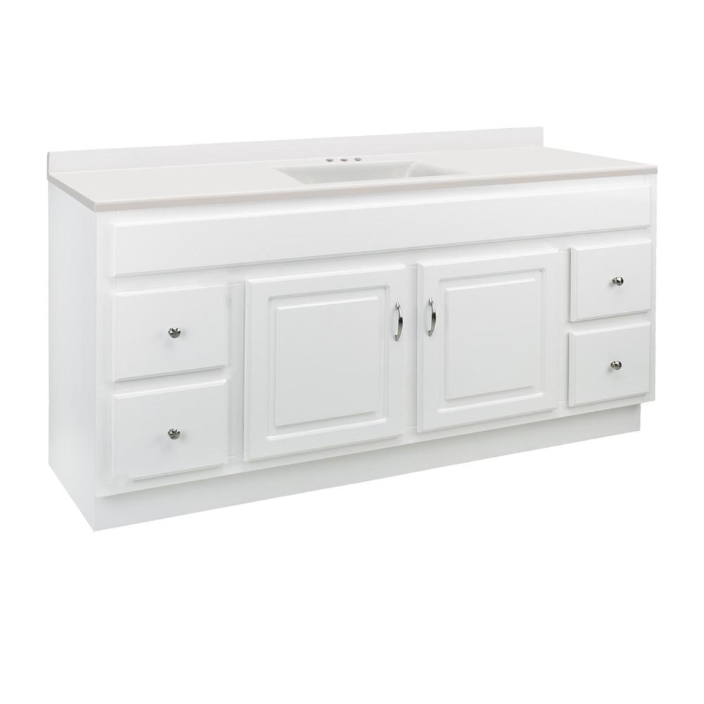 60 in. x 21 in. x 31.5 in. Bath Vanity in White w/ White CM Contempo Vanity Top w/ Basin and Backsplash in Wh