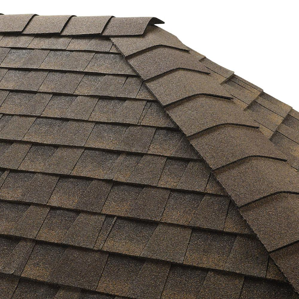 GAF Timbertex Barkwood Double-Layer Hip and Ridge Cap Roofing Shingles (20 lin. ft. per Bundle) (30-pieces)