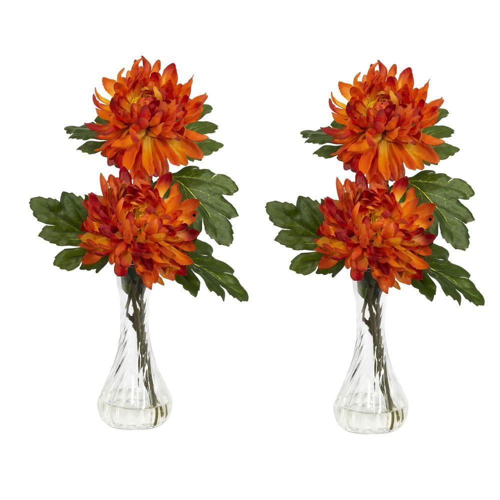 12.5 in. H Orange Mum with Bud Vase Silk Flower Arrangement (Set of 2)