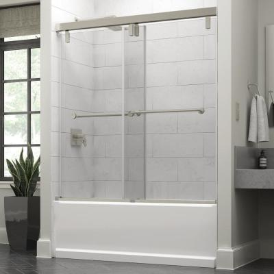 Lyndall 60 x 59-1/4 in. Frameless Mod Soft-Close Sliding Bathtub Door in Nickel with 3/8 in. (10mm) Clear Glass