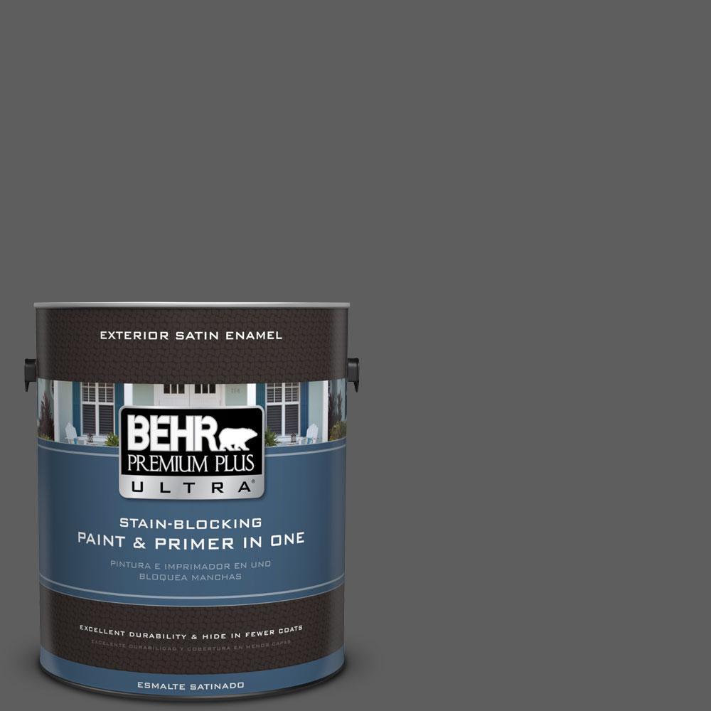 BEHR Premium Plus Ultra 1-gal. #N520-6 Asphalt Gray Satin Enamel Exterior Paint