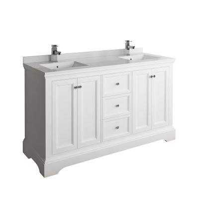 Windsor 60 in. W Traditional Double Bath Vanity in Matte White with Quartz Stone Vanity Top in White with White Basins