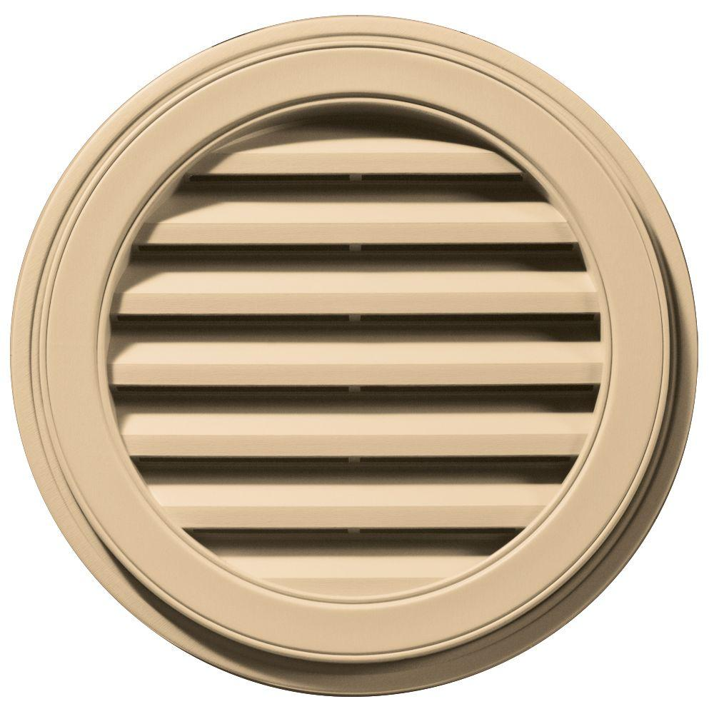 Builders Edge 22 in. Round Gable Vent in Sandstone Maple