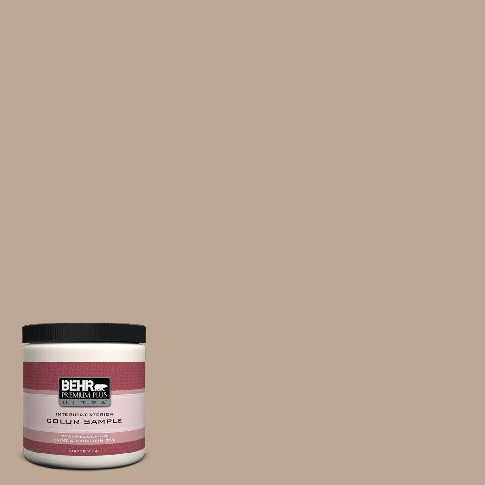 BEHR Premium Plus Ultra 8 oz. #700D-4 Brown Teepee Flat Interior/Exterior Paint and Primer in One Sample