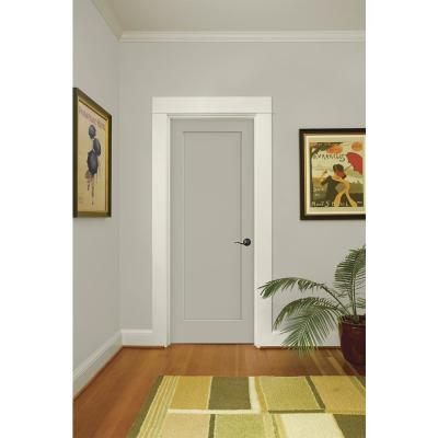 30 in. x 80 in. Madison Desert Sand Left-Hand Smooth Solid Core Molded Composite MDF Single Prehung Interior Door