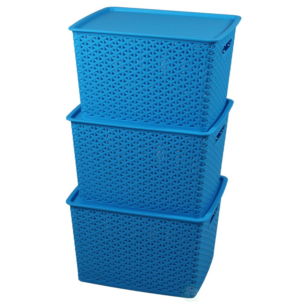 6.5 G. Blue Plastic Storage Container box with Lid, Set of
