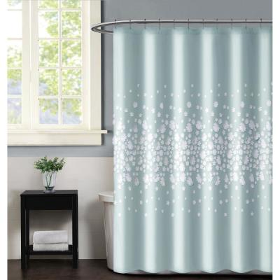Confetti Flowers 72 in. x 72 in. Mint Shower Curtain