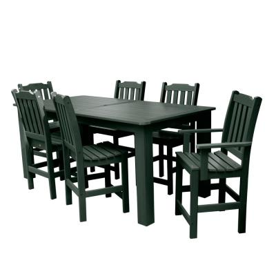 Lehigh Charleston Green 7-Piece Recycled Plastic Rectangular Outdoor Balcony Height Dining Set