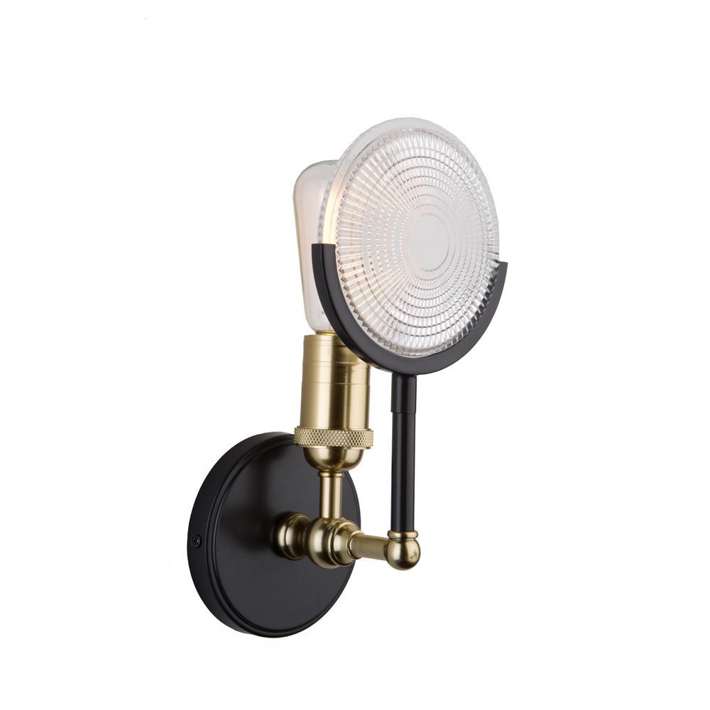1-Light Slate and Vintage Brass Sconce