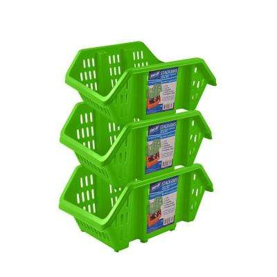 Stackable Storage Bin in Green (3-Pack)
