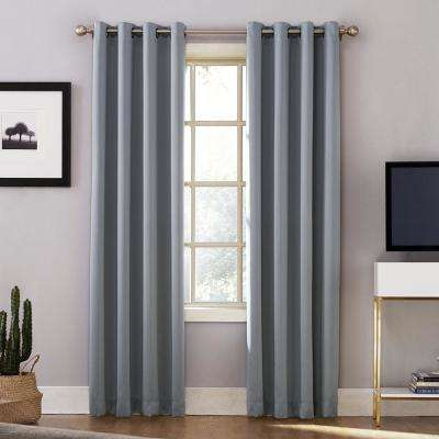 Oslo 95 in. Woven Home Theater Grade Blackout Haze Grommet Single Curtain Panel