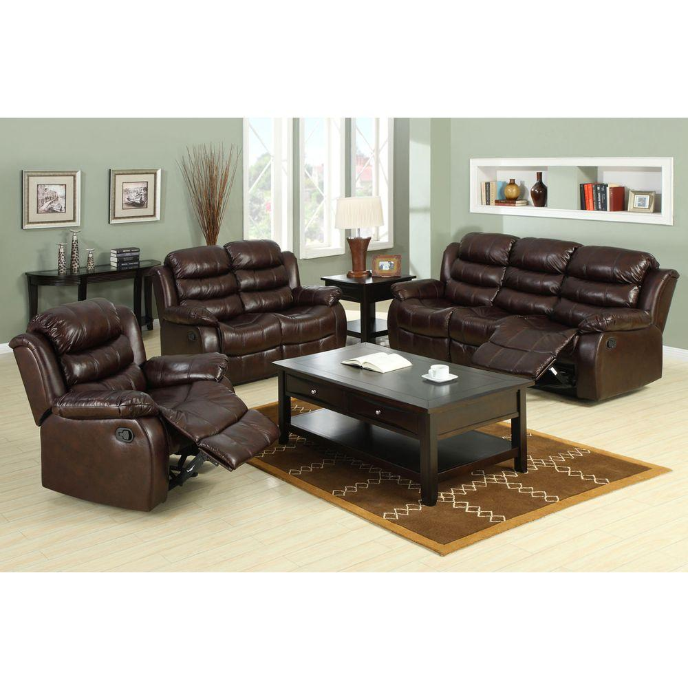 Furniture of america berkshire dark brown faux leather sofa cm6551 s the home depot Home furniture usa nj