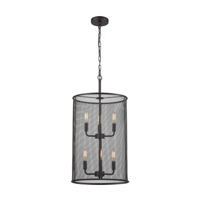 Williamsport 6-Light Oil Rubbed Bronze Chandelier With Tall Metal Drum Shade