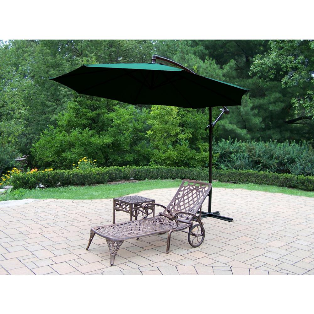 3-Piece Aluminum Outdoor Chaise Lounge Set with Green Umbrella