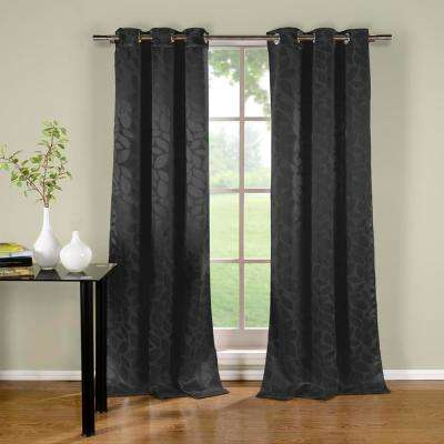 Zayden 96 in. L x 38 in. W Polyester Blackout Curtain Panel in Black (2-Pack)