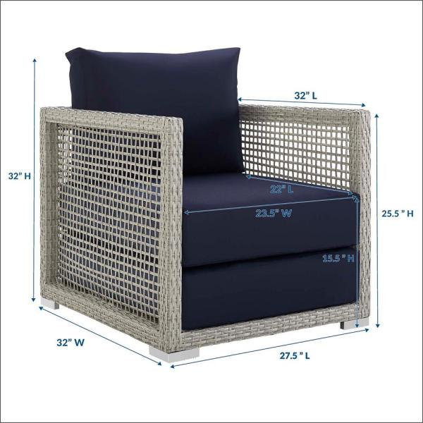 Modway Aura Gray Wicker Outdoor Lounge Chair With Navy Cushions Eei 2918 Gry Nav The Home Depot
