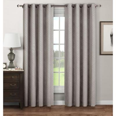 Semi-Opaque Stockholm Printed Cotton Extra Wide 96 in. L Grommet Curtain Panel Pair, Grey (Set of 2)