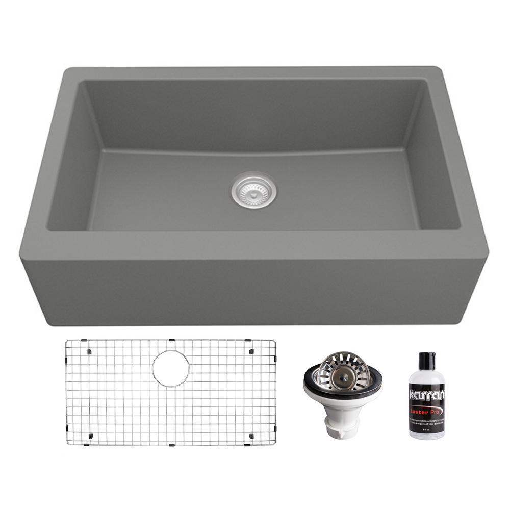Farmhouse/Apron-Front Grey Quartz Composite 34 in. Single Bowl Kitchen Sink Kit