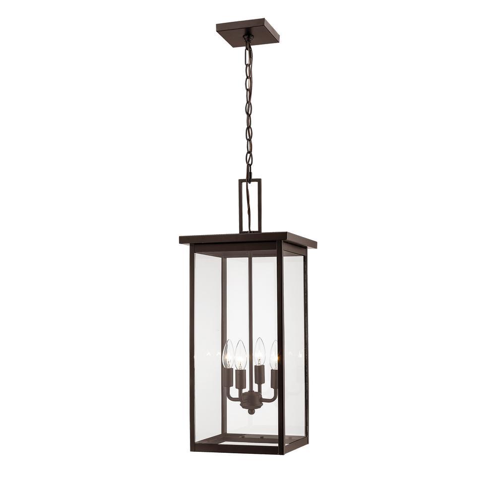4-Light 13 in. Powder Coat Bronze Outdoor Lantern Pendant