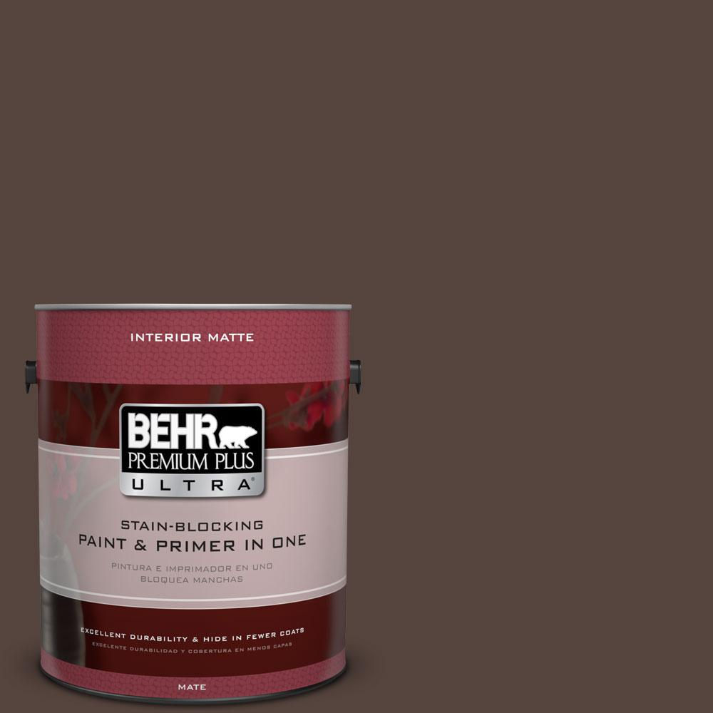 1 gal. #780B-7 Bison Brown Matte Interior Paint and Primer in