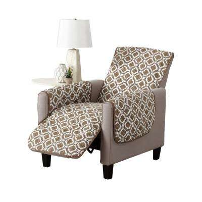 Liliana Collection Fossil Brown Printed Reversible Recliner Furniture Protector