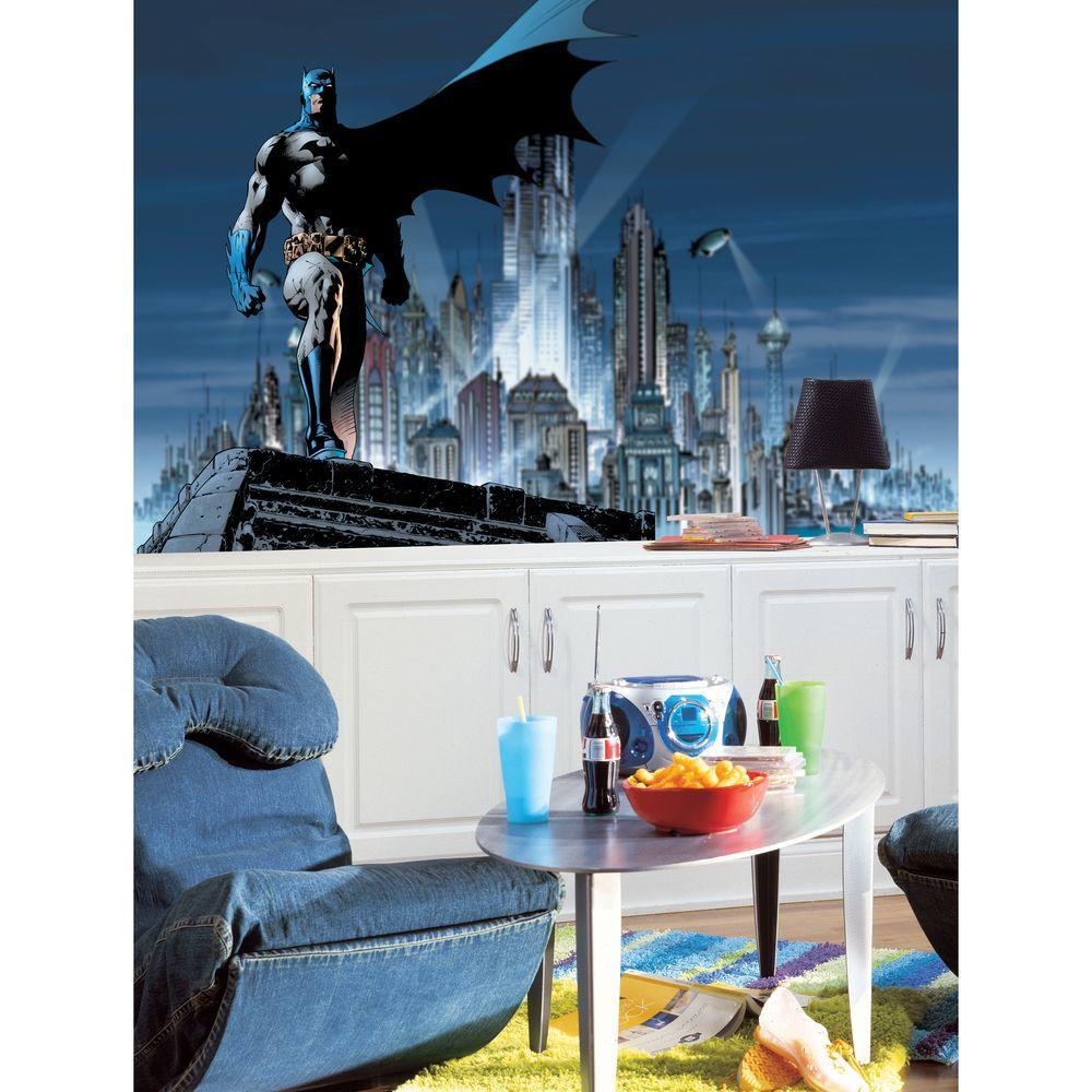 Roommates Batman Chair Rail Prepasted Mural 6 Ft X 105 Ft Ultra
