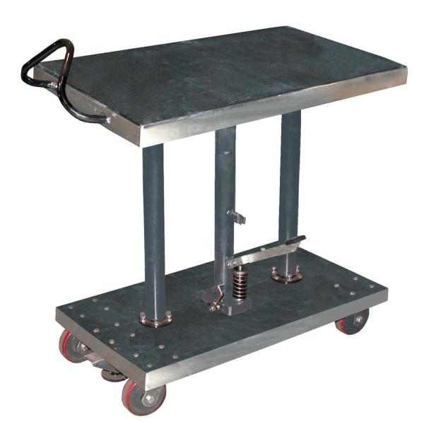 1,000 lb. Capacity 20 in. x 36 in. Partially Stainless Steel Hydraulic Post Table
