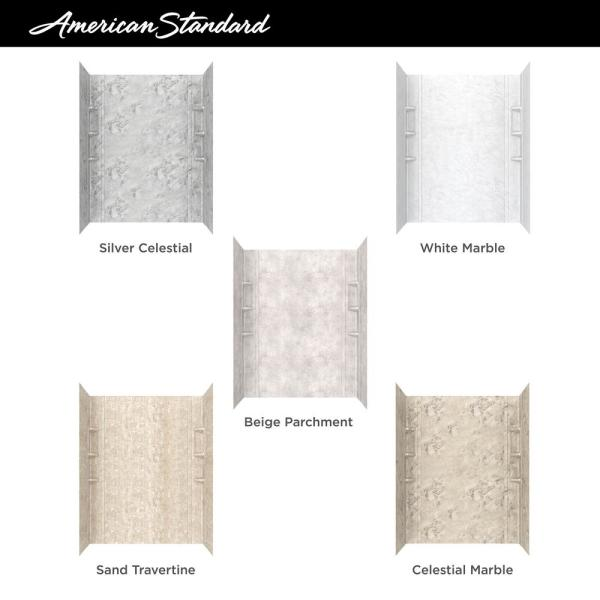 American Standard Ovation 32 In X 60 In X 59 In 5 Piece Glue Up Alcove Bath Wall Set In Beige Parchment 2968bwt60 367 The Home Depot