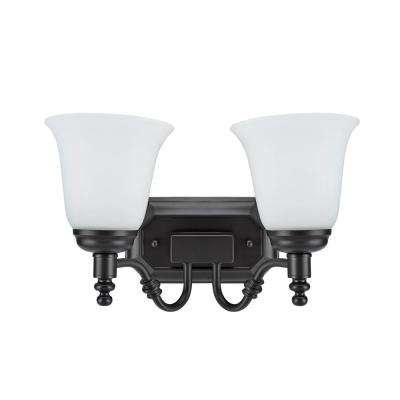 2-Light Oil Rubbed Bronze Vanity Light with Frosted Glass Shade