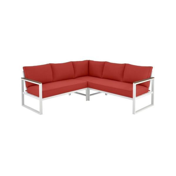 West Park White Aluminum Outdoor Patio Sectional Sofa Seating Set with CushionGuard Chili Red Cushions
