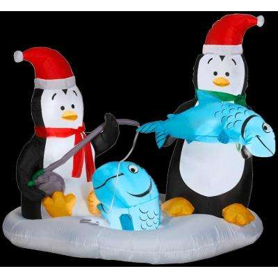 4.6 ft. H Inflatable Animated Penguins Ice Fishing