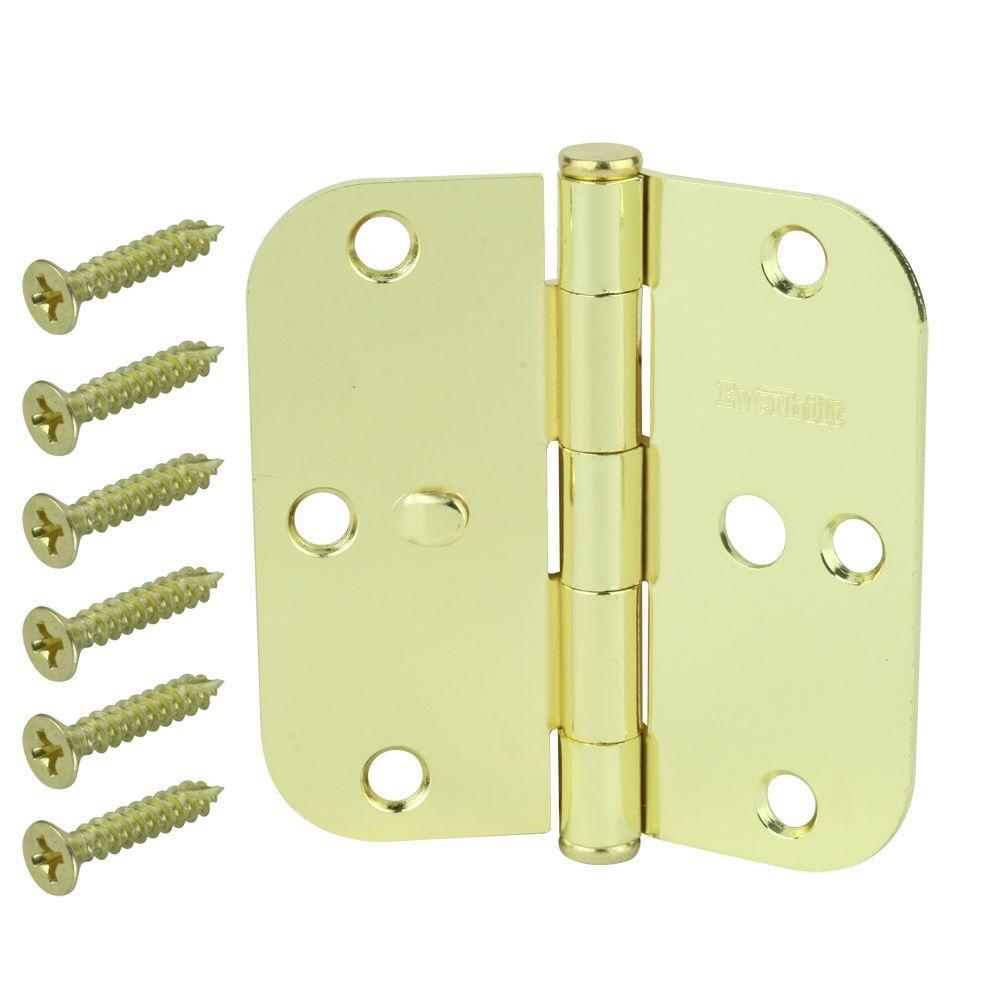 3-1/2 in. Bright Brass 5/8 in. Radius Security Door Hinge