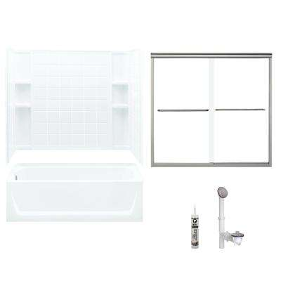Ensemble 32 in. x 60 in. x 72 in. Bath and Shower Kit with Left-Hand Drain in White and Brushed Nickel
